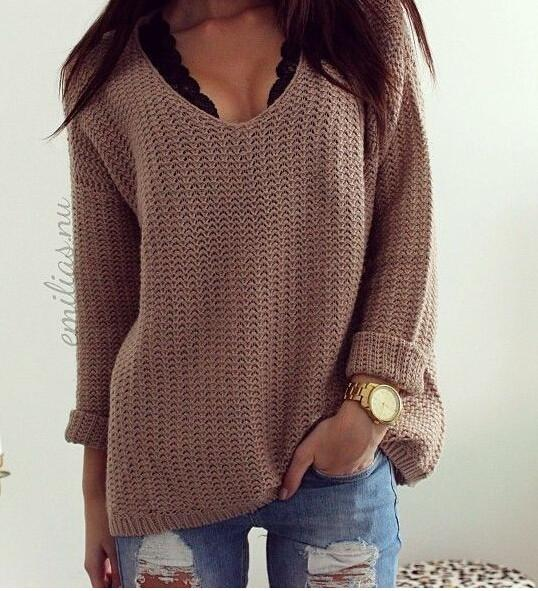 Image of hot loose V hollow out sweater
