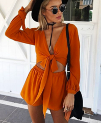 Image of V-neck long-sleeved lace jumpsuit shorts leotard