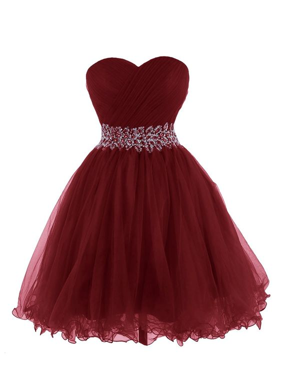 Beautiful Wine Red Short Tulle Homecoming Dresses, Short Prom ...