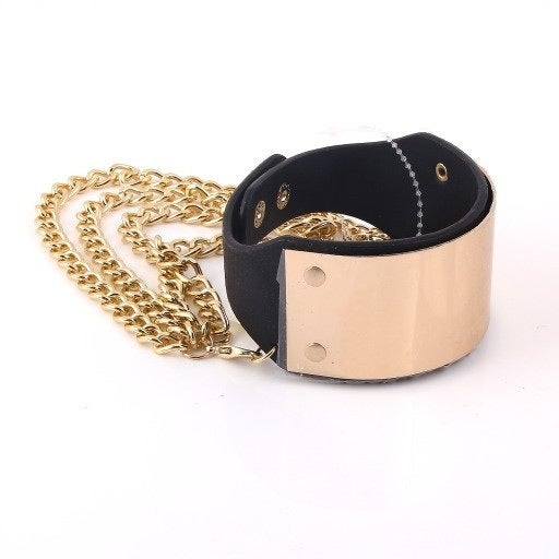 Image of Faux Leather Gold Plate Heel Chain