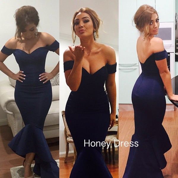 Image of Navy Blue/Burgundy Off-The-Shoulder Strapless Mermaid Maxi Prom Dress With Trumpet Skirt