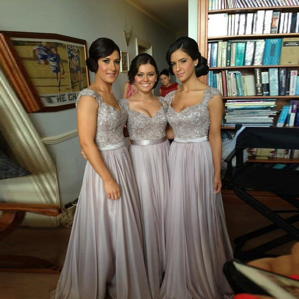 Image of 2015 Chiffon Grey Sweetheart Long Bridesmaid Dresses With Beading