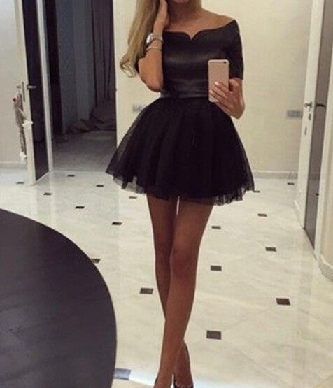 Cute Handmade Short Little Black Dresses, Black Homecoming Dresses