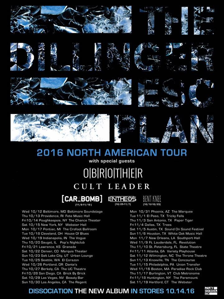 Image of 11/12 Dillinger Escape Plan, O'Brother, Cult Leader, Car Bomb, ABNS