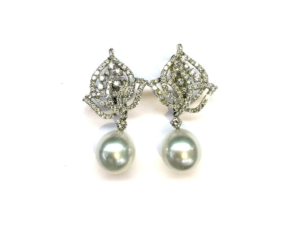 Image of Diamond And Pearl Drop Earrings
