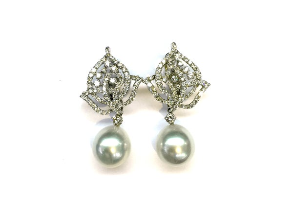 Image of Diamond And Pearl Drop Earrings