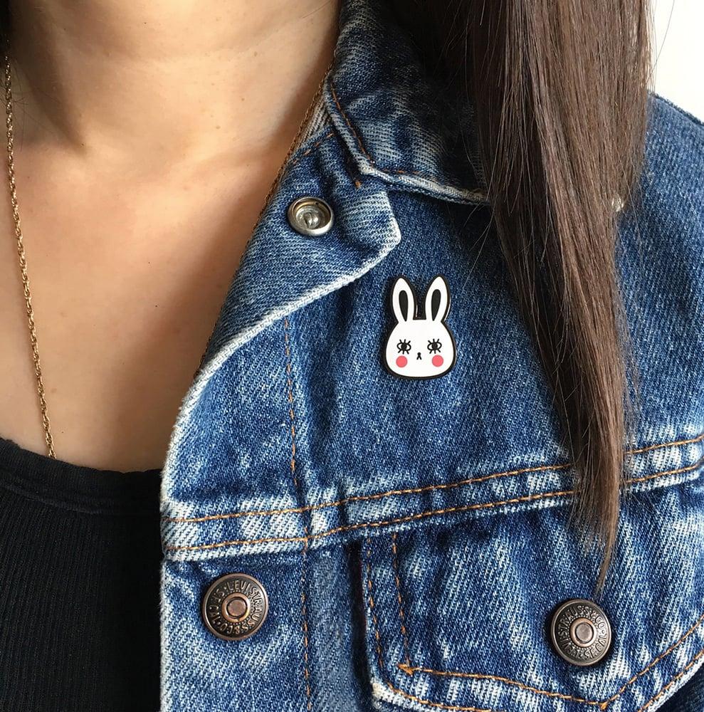 Image of White Bunny Hard Enamel Pin