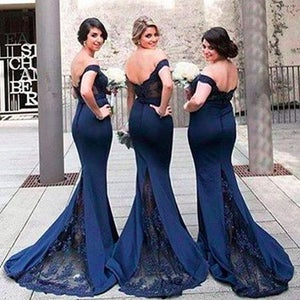Image of Navy Blue Jersey Bridesmaid Dress,Off-The-Shoulder Mermaid Prom Dress With Lace Sweep Train