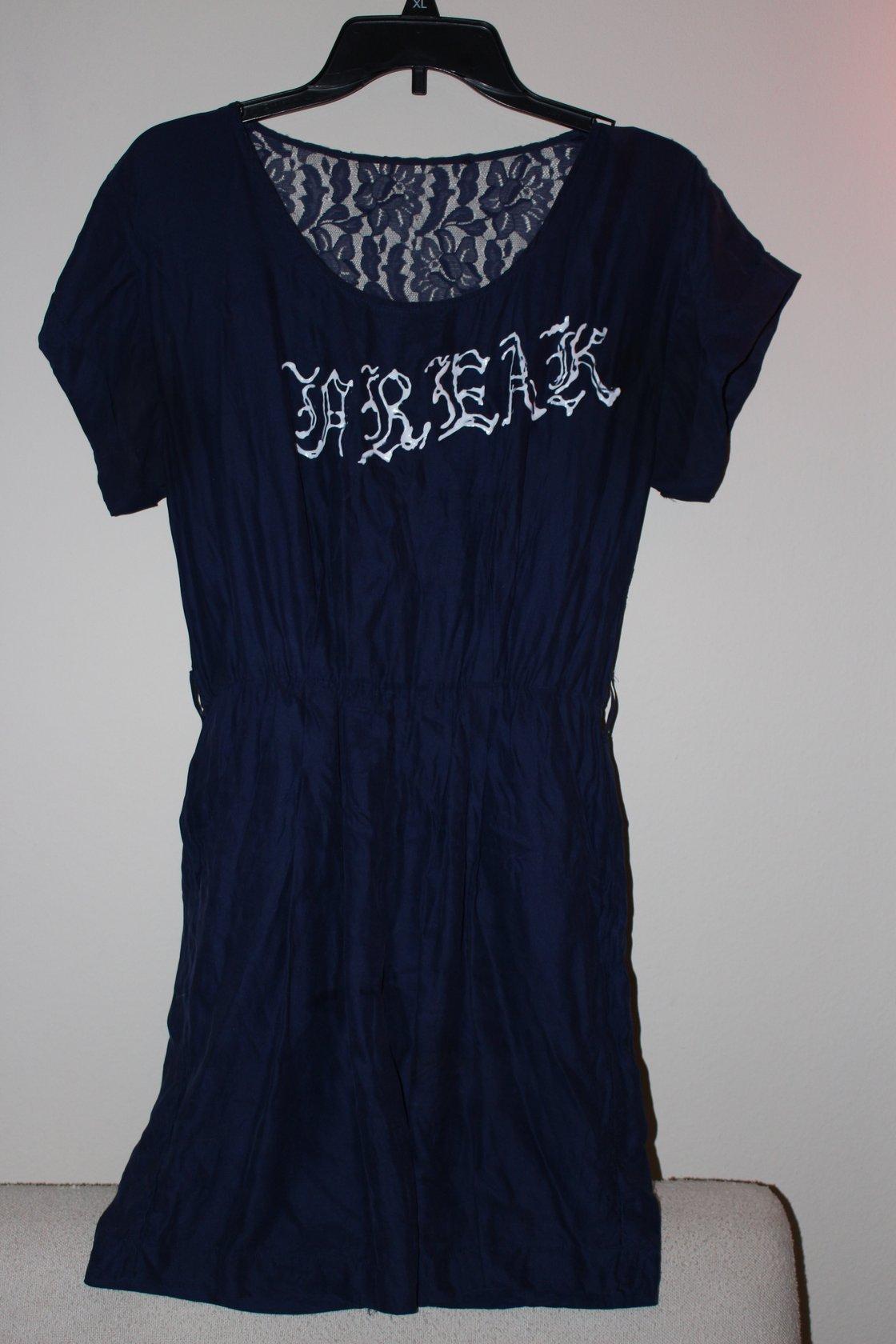 Image of LACE BACK FREAK DRESS NAVY BLUE