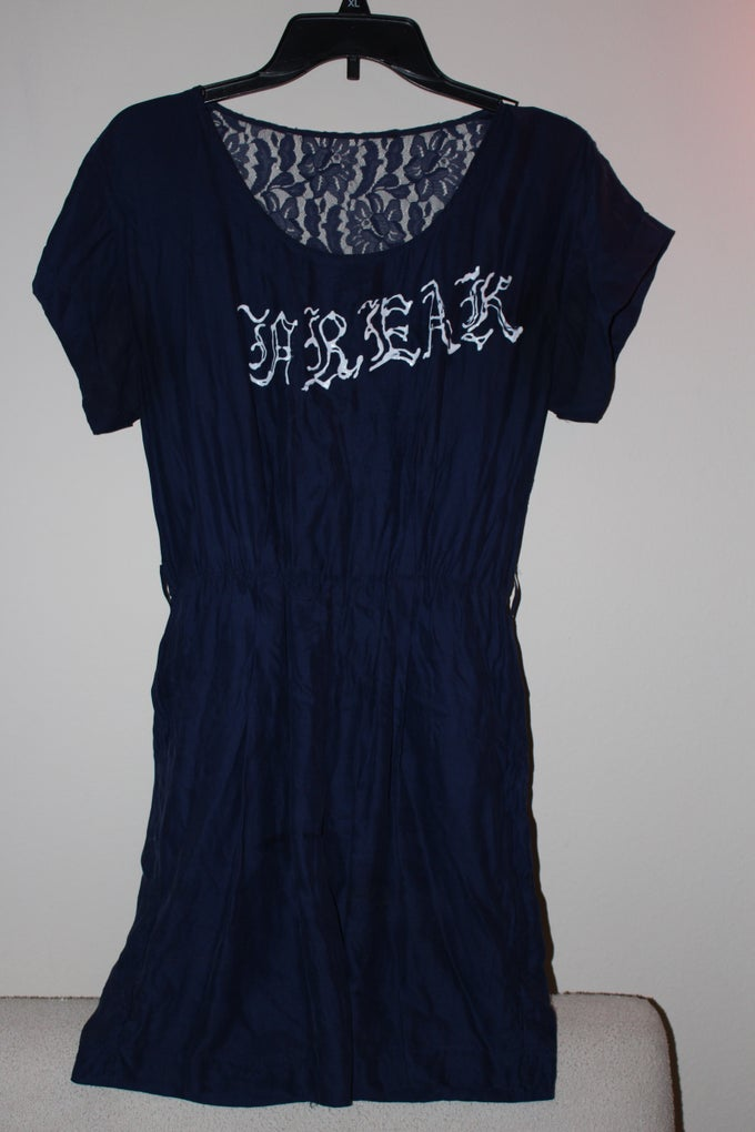 Image of LACE BACK FREAK DRESS NAVY BLUE