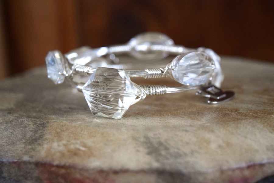 Image of Clear Crystal Hexagon Bangle