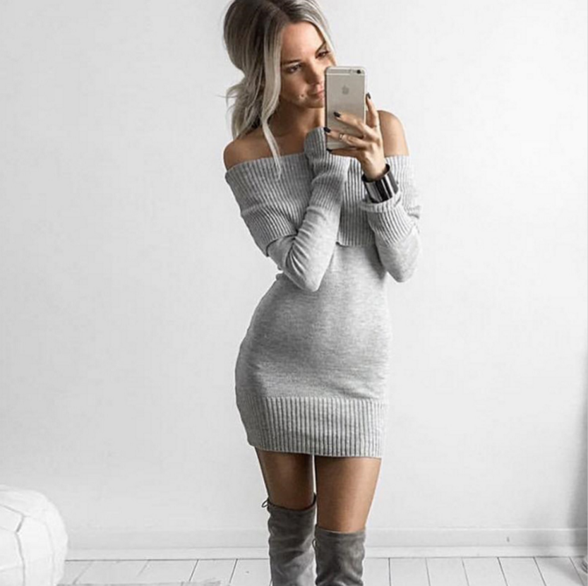 Image of The new collar Slim thin long-sleeved sweater dress strapless package hip wild bottoming skirt