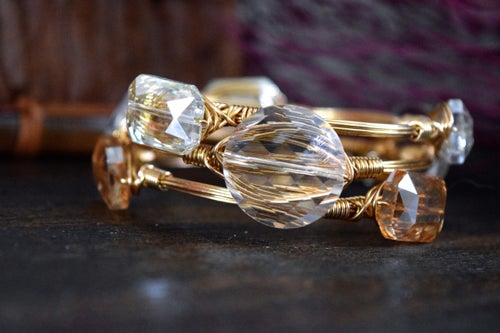 Image of Round Clear Crystal Bangle