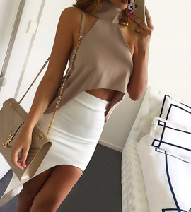 Image of Sexy high-necked sleeveless dew shoulder chiffon blouse
