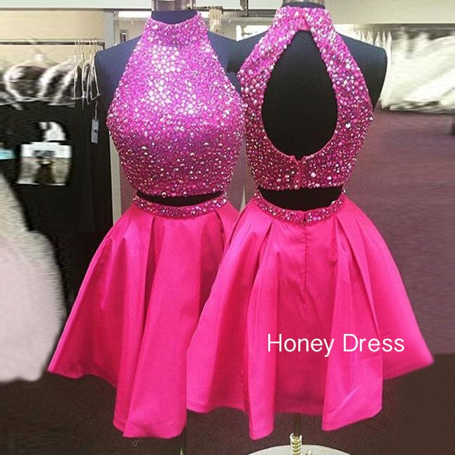 Image of Pink Halter Two Piece Cocktail Dress, Short High Neck Homecoming Dress With Beaded Bodice
