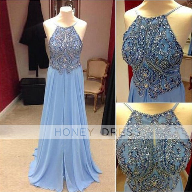 Image of Light Blue Chiffon Hand Sewn Beaded Fitted Bodice Prom Dresses With Lower Back Zipper1