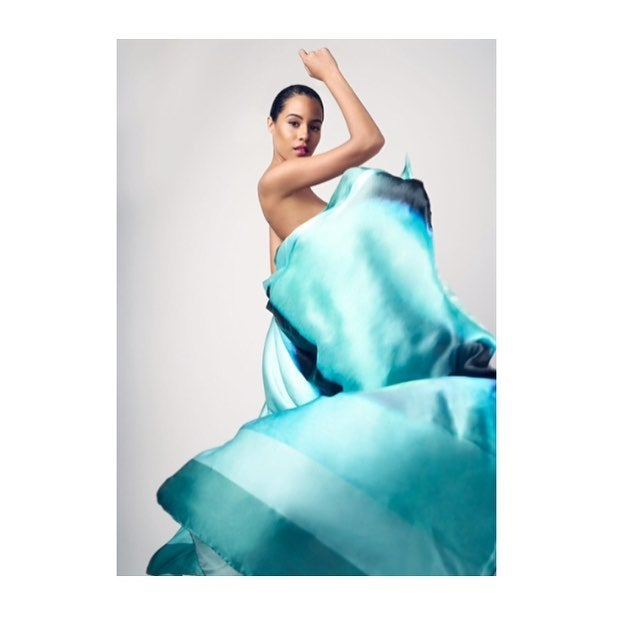 Image of  As worn by Miss Jamaica Atoll | Seaweed Salad Silk