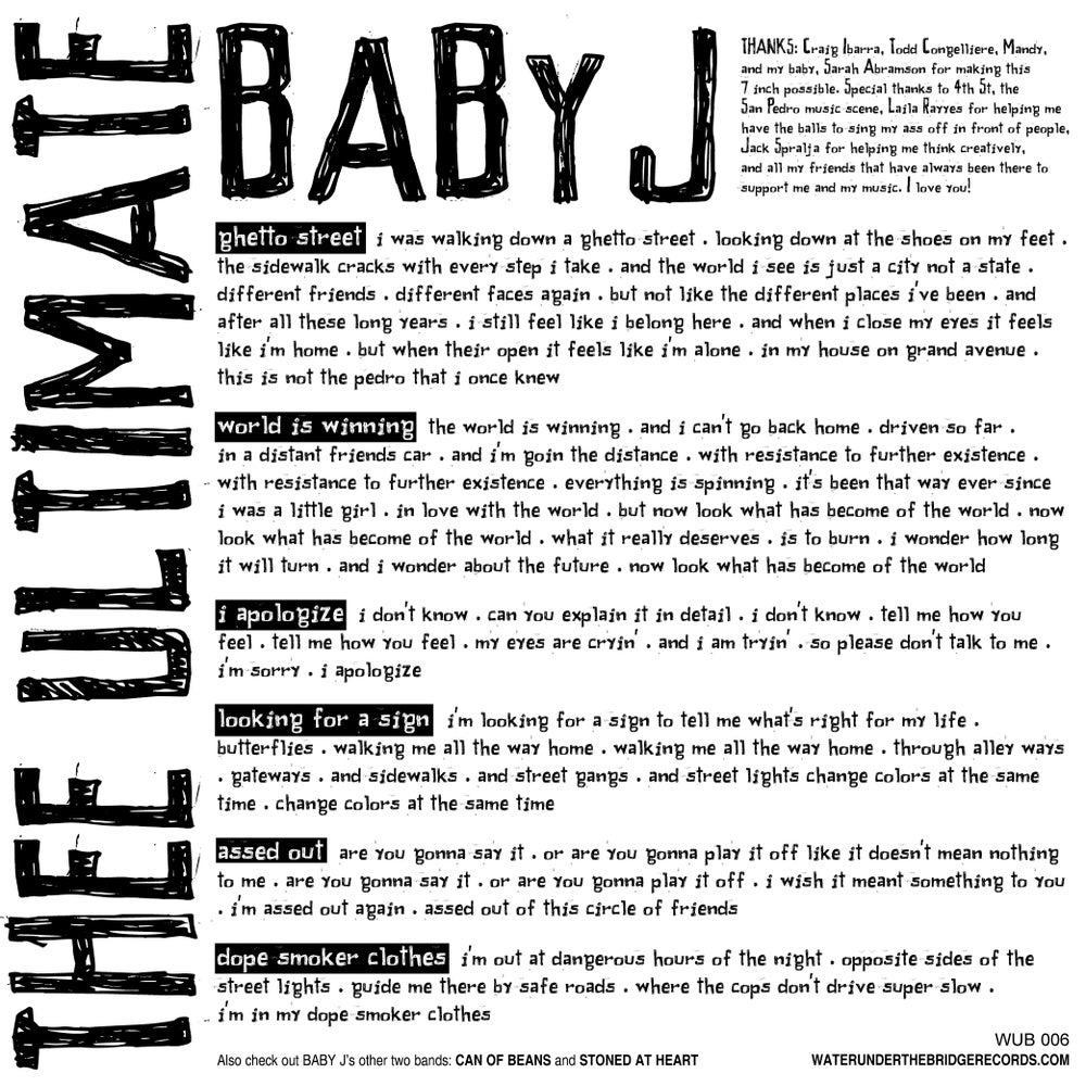 """(thee ultimate) BABY J - Looking for a Sign → 7"""" ep"""