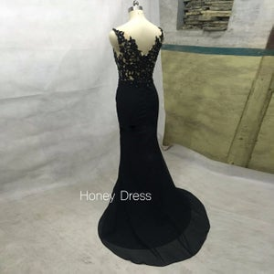 Image of Black Jersey Mermaid Evening Gown With Lace Appliques Bodice