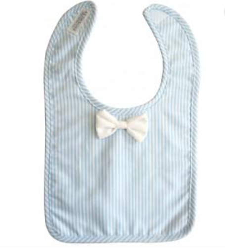Image of ALIMROSE- Bow tie bib ( blue and white stripe)