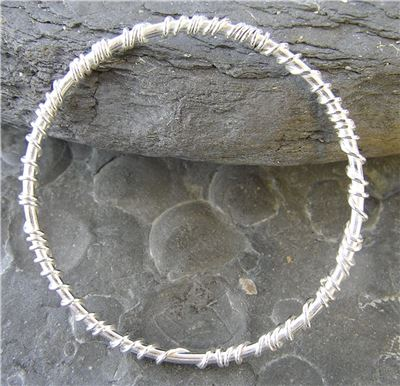 Image of Silver melted wire bangle