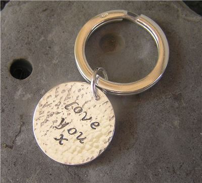 Image of Silver 'love you' keyring