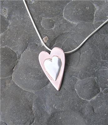 Image of Silver and copper heart pendant