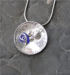 Image of Silver and seaglass domed pendant
