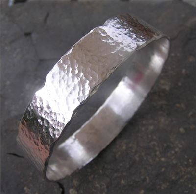Image of Silver hammered bangle