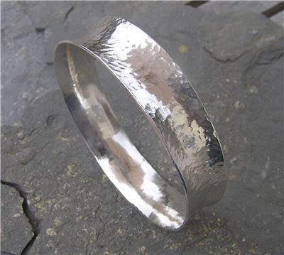 Image of Silver hammered bangle 2