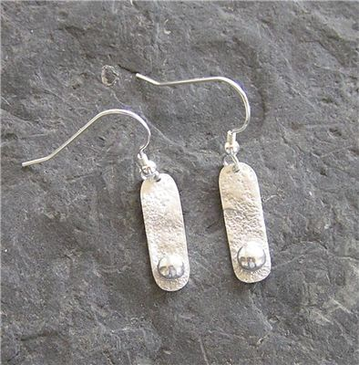 Image of Silver drop earrings and silver pebble