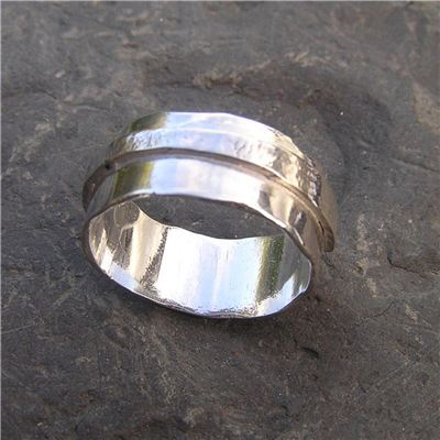Image of Silver ring with textured band