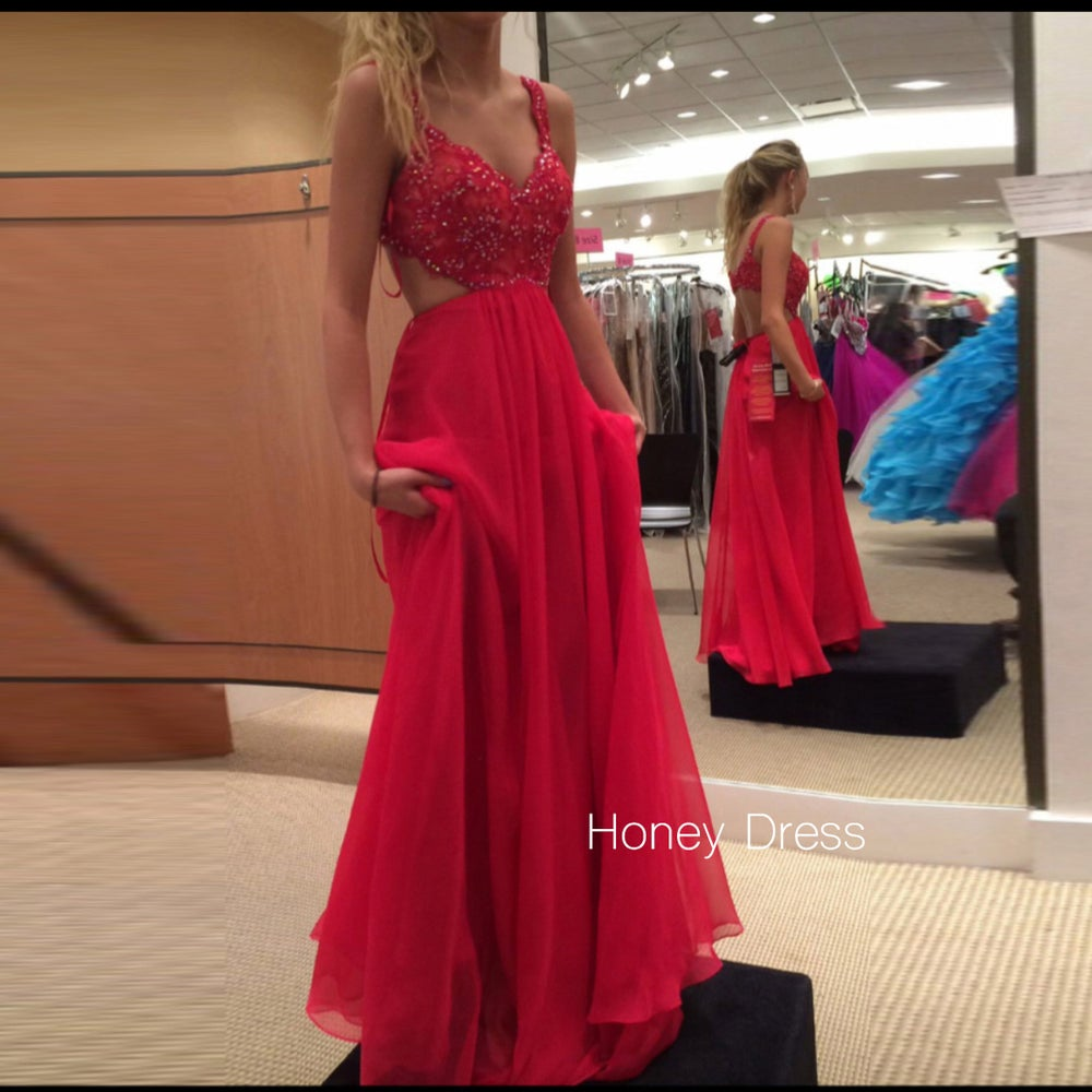 Honey Dress — Red V-Neck Lace Applique Prom Gown, Chiffon Cut Out ...