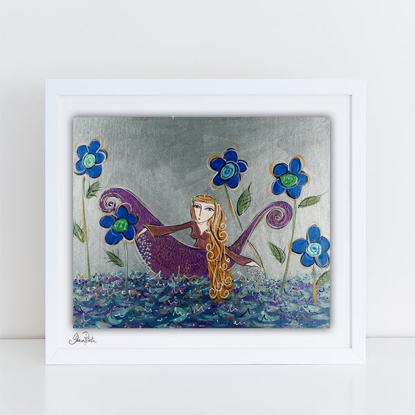 Image of Girl In a Boat wishing PRINT