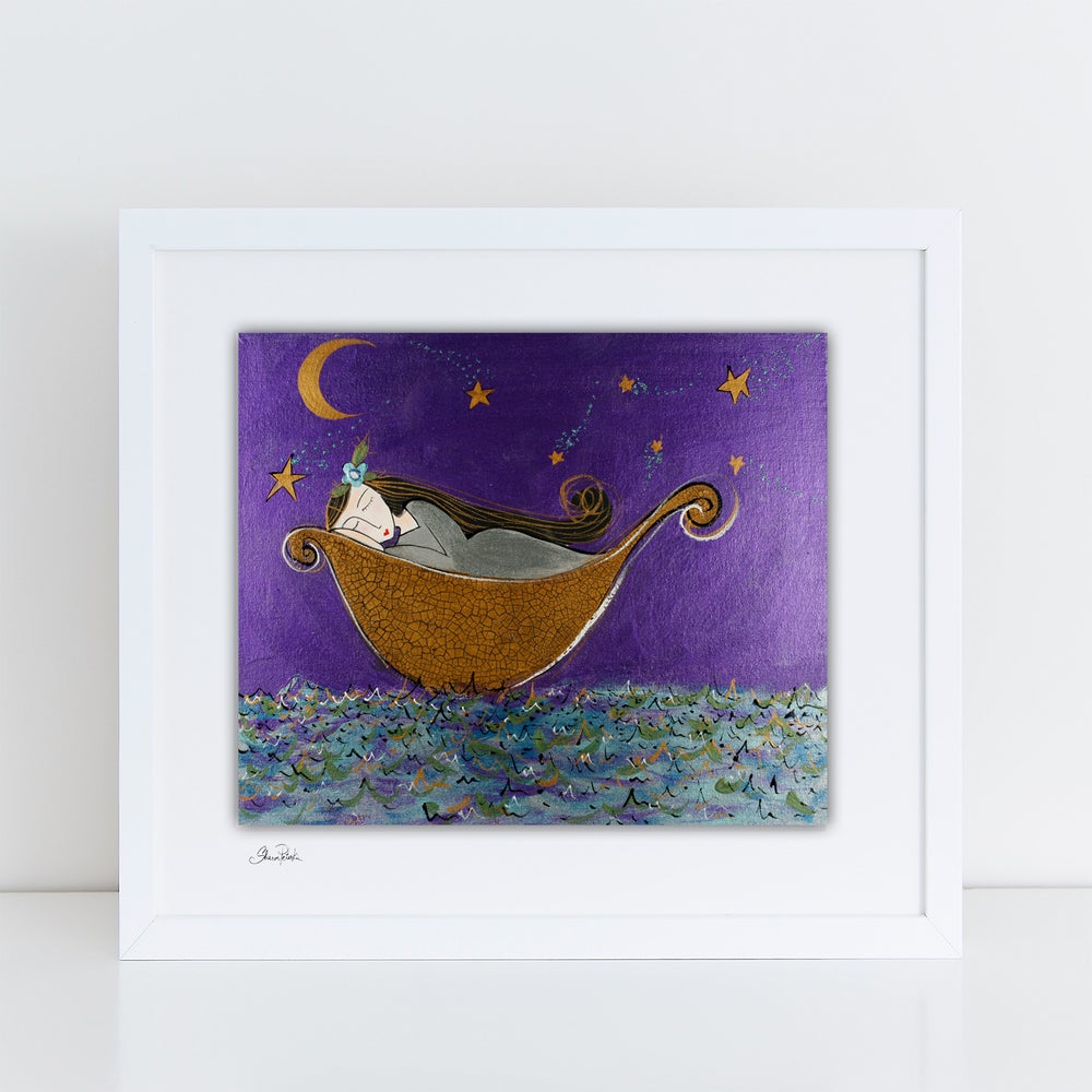 Image of Girl In a Boat Sleeping PRINT