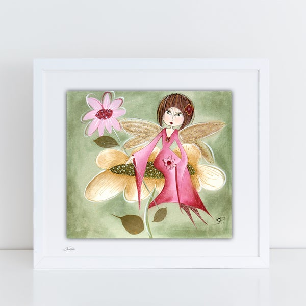 Image of Shabby Fairy On A Flower PRINT