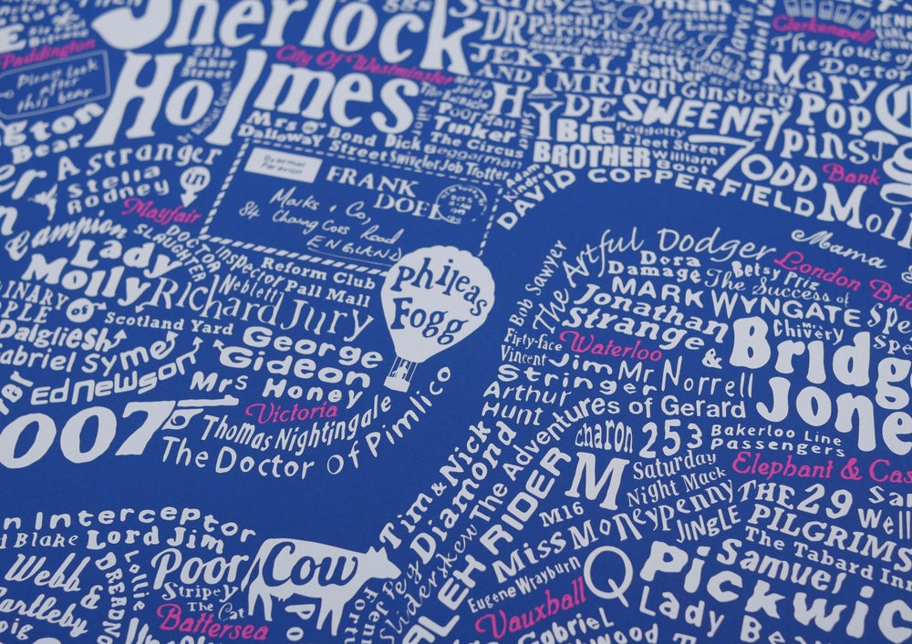 Literary London Map (White & Pink on Royal Blue Plike)