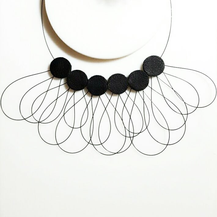 Image of Kozo L Leather Necklace (black)