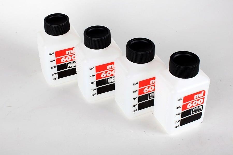 Image of Jobo 600ml Bottles (4-pack, white/clear)