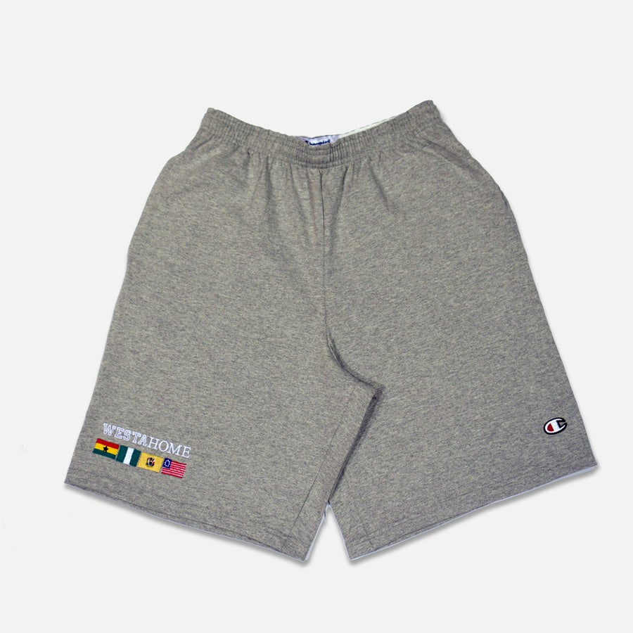 Image of WESTAHOME x Champion Flag Shorts - Grey