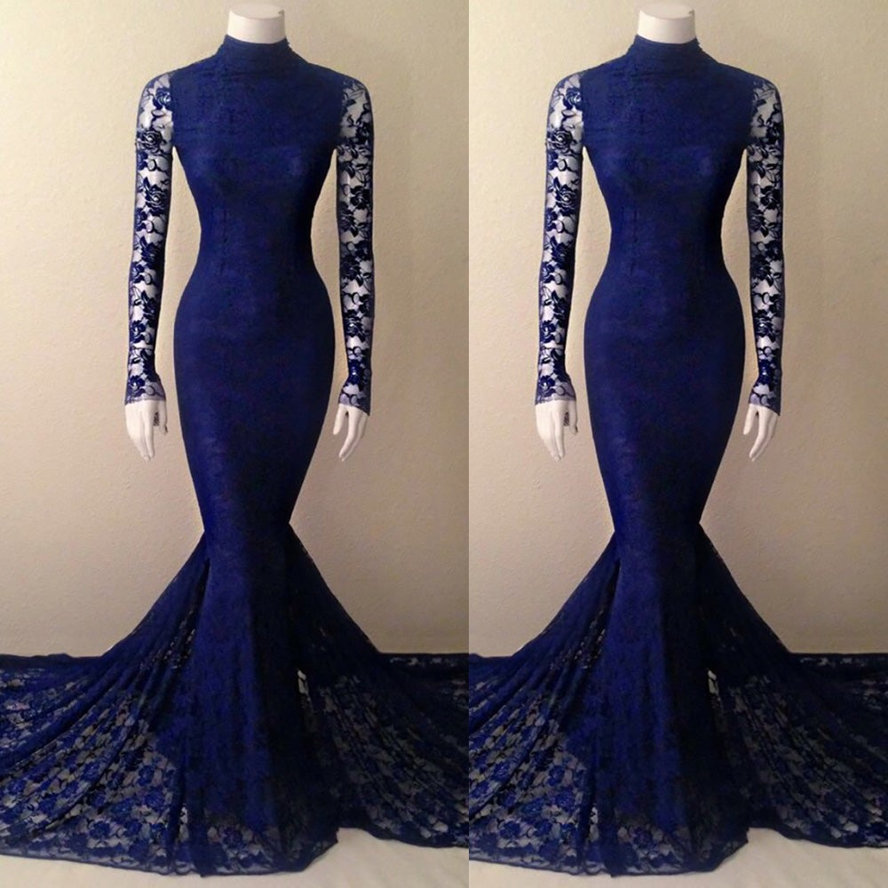 0d30bccd3dc Honey Dress — Navy Blue Lace High Neck Mermaid Evening Gown With Long  Sleeves
