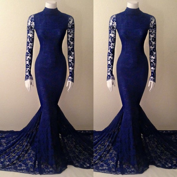 Image of Navy Blue Lace High Neck Mermaid Evening Gown With Long Sleeves