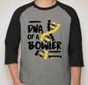 Pinkingz Bowling T-Shirt - DNA of a Bowler 3/4 2 Tone || Dark Heather Grey w/ Black Sleeves
