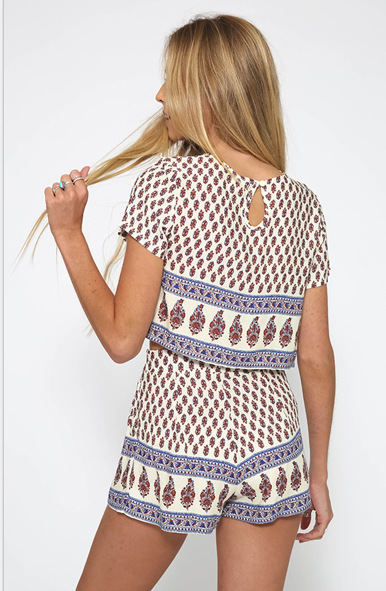 Image of FASHION PRINTING SHORT SLEEVE ROUND COLLAR TWO-PIECE OUTFIT