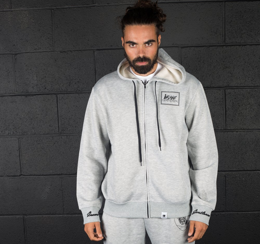 Image of Insane Gentlemen Zip Up Hoodie Grey