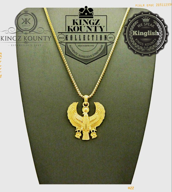 Image of HERU FALCON CHARM w/ BOX CHAIN