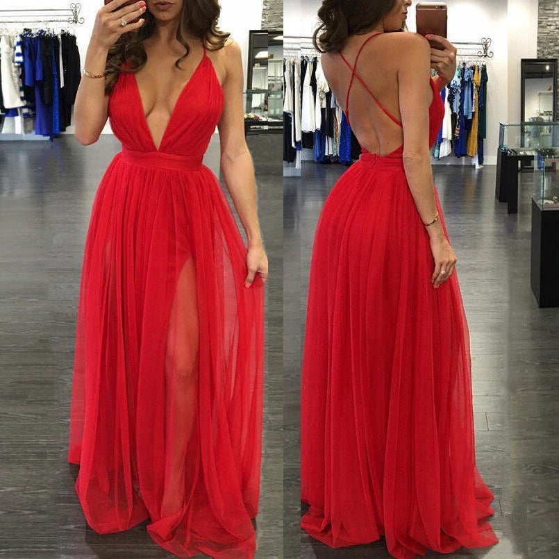 Image of Red Chiffon V-Neck Prom Dress, Cross Back Side Slit Prom Dress With Spaghetti Strap