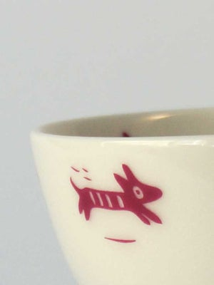 Image of Bowl with </br>pink dogs