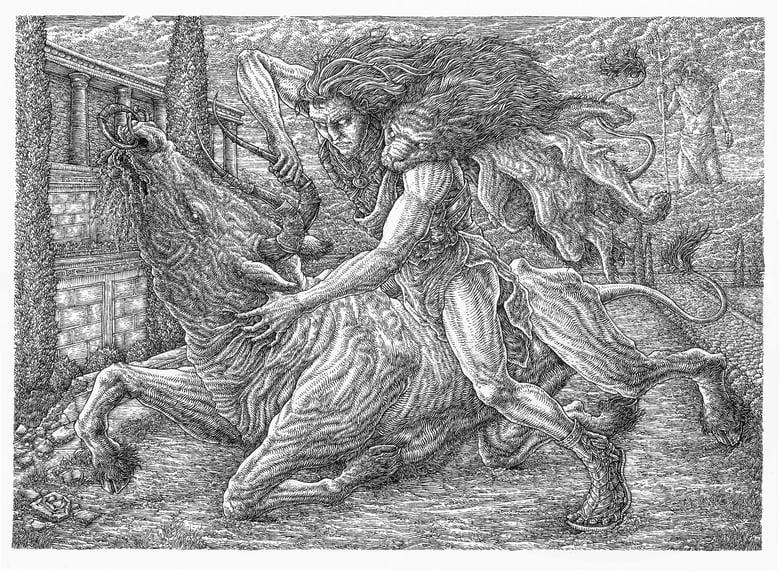 """Image of """"The Cretan Bull"""" original artwork"""