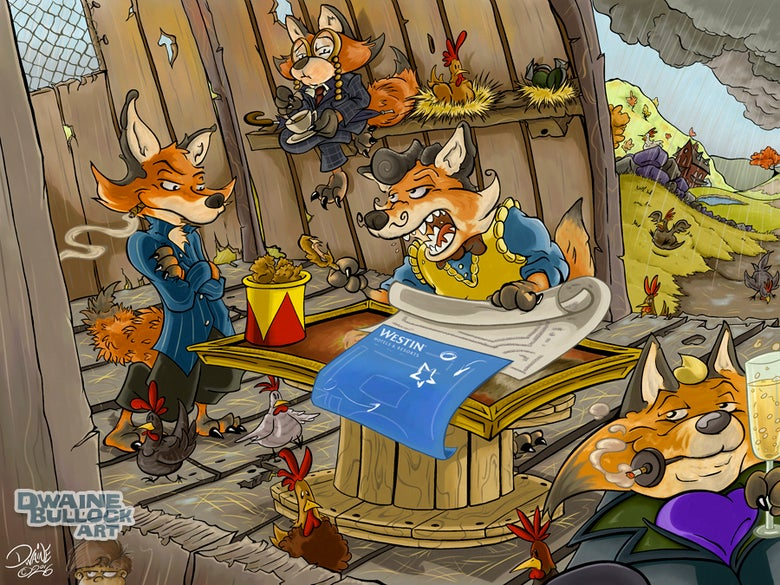 Image of Four Fishy Foxes Frame a Flagrant Filching